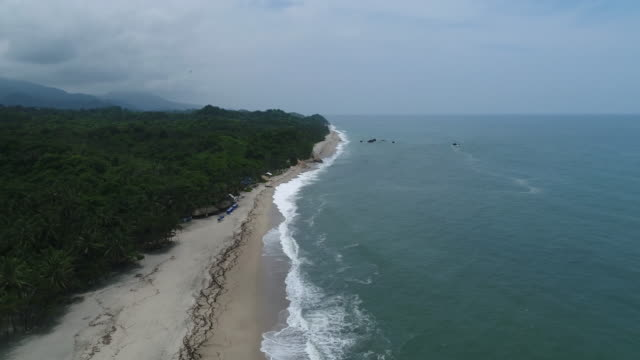 drone footage of seascape and coastline against sky, tayrona national park, colombia - tayrona national park stock videos and b-roll footage