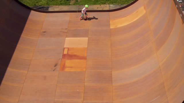Drone footage of skateboard practice on the Vert ramp at the NASS Festival Bath and West Showground