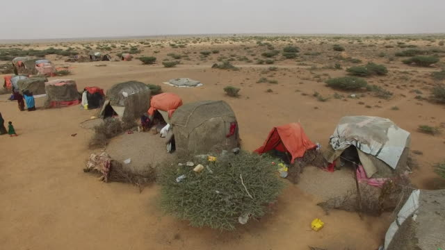 Drone footage of tents close to Mogadishu Somalia