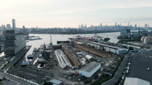 drone footage of the brooklyn navy yard - cable stayed bridge stock videos & royalty-free footage