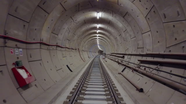 drone footage of the crossrail tunnels on april 28, 2017 in london, england. the elizabeth line is the new crossrail train link running 73 miles... - tunnel stock videos & royalty-free footage