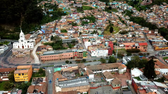 drone footage of the district of the candelaria in bogotá, colombia - bogota stock videos & royalty-free footage