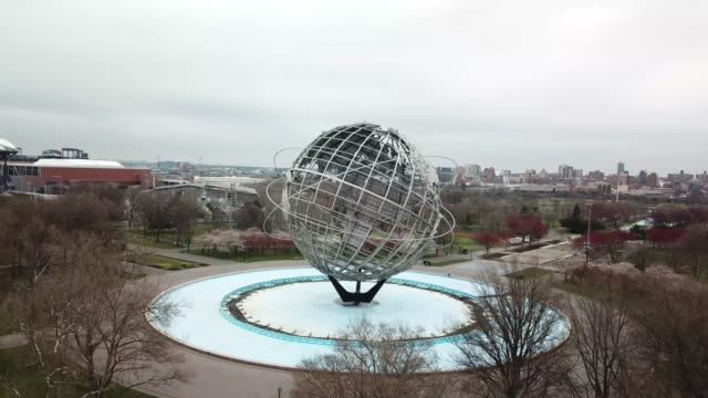 drone footage of the globe in flushing meadow-corona park - unisphere stock videos & royalty-free footage