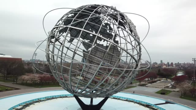 drone footage of the globe in flushing meadow-corona park - flushing meadows corona park stock videos & royalty-free footage