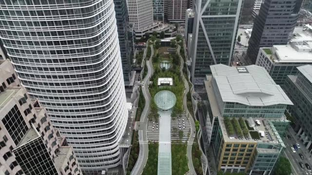Drone footage of the new Salesforce Transit Center in San Francisco on Wednesday August 8 2018 The transit center stretches a little more than the...