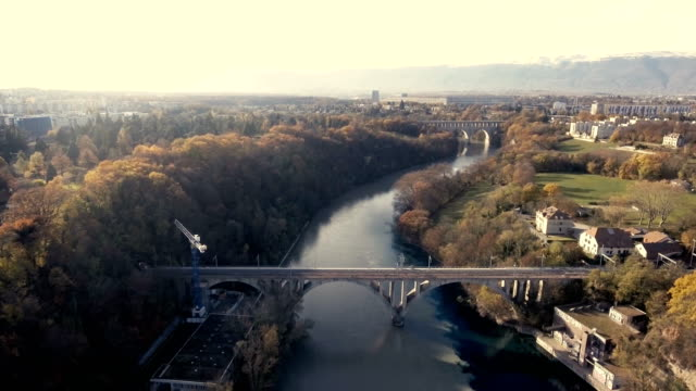 drone footage of the river arve and the river rhone - rhone river stock videos & royalty-free footage