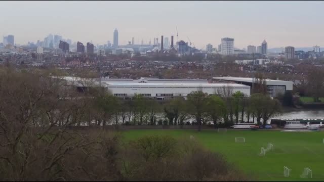 drone footage of the river thames ahead of the 2017 boat race - oxford england stock videos and b-roll footage