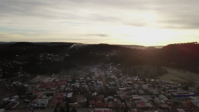 drone footage of the small town of creel, chihuahua mexico - mexico stock videos & royalty-free footage