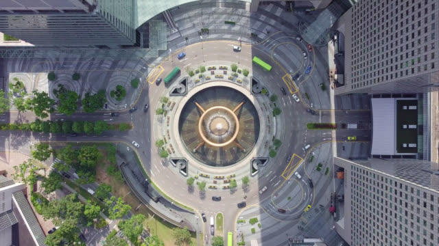 Drone footage of top view of the Fountain of Wealth as the largest fountain in the world at Singapore. It is located in one of Singapore largest shopping malls.