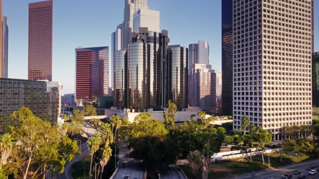 Drone Footage of Traffic Passing DTLA Office Buildings and Hotels