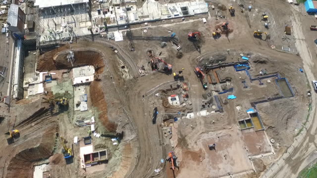 Drone footage over a building site