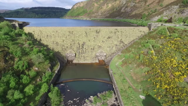 Drone footage over a reservoir