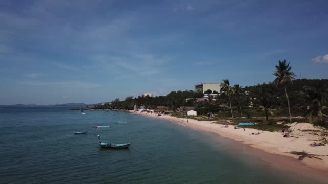 4k drone footage over fishing boats on phu quoc island, vietnam - vietnam meridionale video stock e b–roll