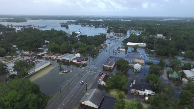drone footage recorded on september 2 shows extensive flooding and water logged streets in crystal river, florida, after the town was hit by... - north carolina us state stock videos & royalty-free footage