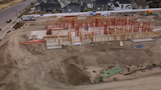 drone footage residential construction site - middle class stock videos & royalty-free footage