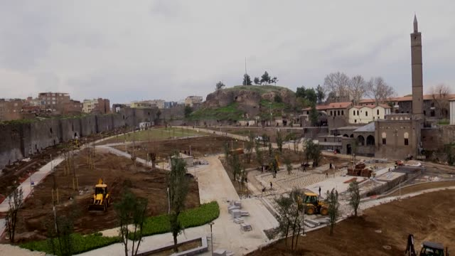 Drone footage showing frantic construction and landscaping works going on to recover massive damage in Sur town of Diyarbakir which is famous with...