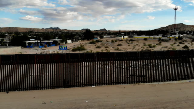 Drone footage shows the US/Mexico border fence on July 19 2018 in Sunland Park New Mexico A courtordered July 26th deadline is approaching for the US...