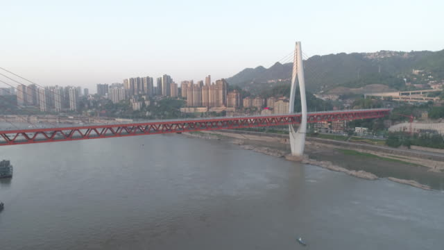 r/t ws ha drone footages of river ropeway and cityscape / chongqing, china - ship's bridge stock videos & royalty-free footage