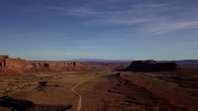 drone image of the arizona desert near monument valley - monument valley stock videos & royalty-free footage