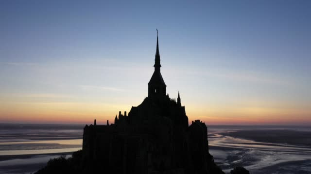 FRA: STOCK SHOTS: Aerial views of France's Mont-Saint-Michel at dawn