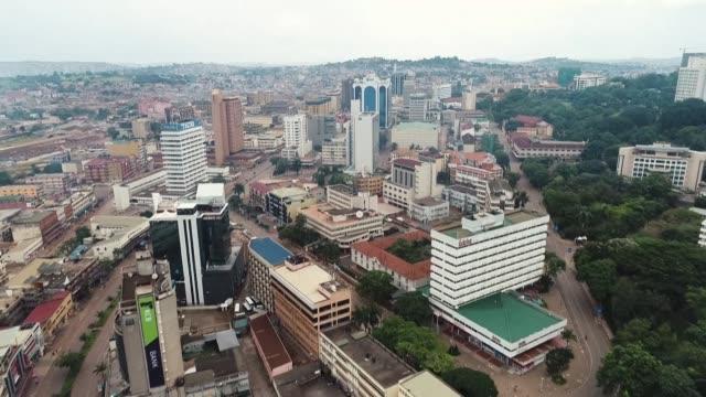 drone images show the ugandan capital of kampala under lockdown - kampala stock videos & royalty-free footage