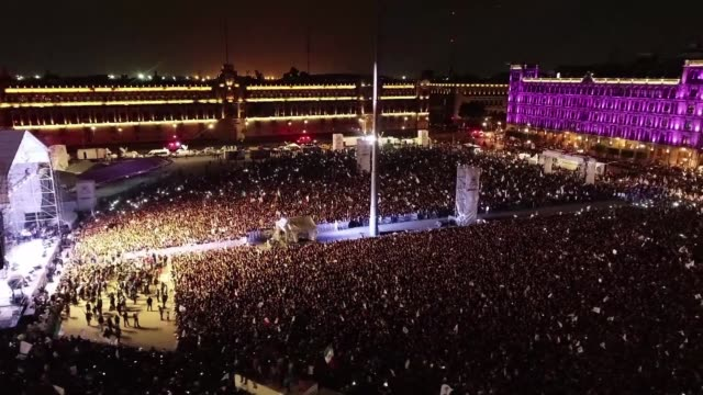 drone images show thousands of ecstatic supporters flooding central mexico city's zocalo square to celebrate the victory of anti establishment... - zocalo mexico city stock videos & royalty-free footage