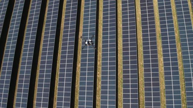 Drone Inspecting a Solar Farm