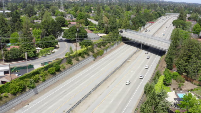drone is flying over highway 280 in cupertino, california - san jose california stock videos & royalty-free footage