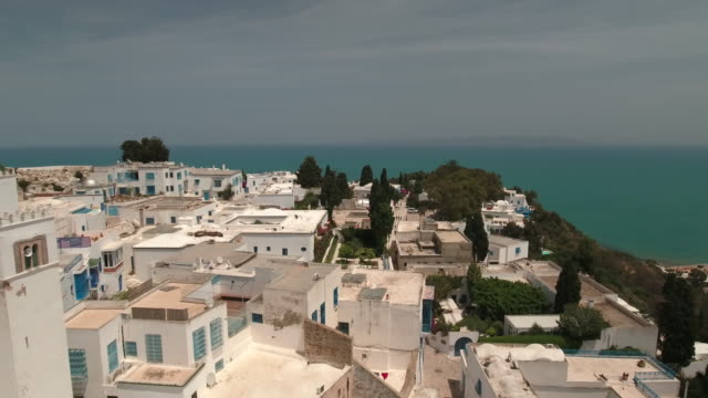 drone main street, tunis, mosque - tunisia video stock e b–roll