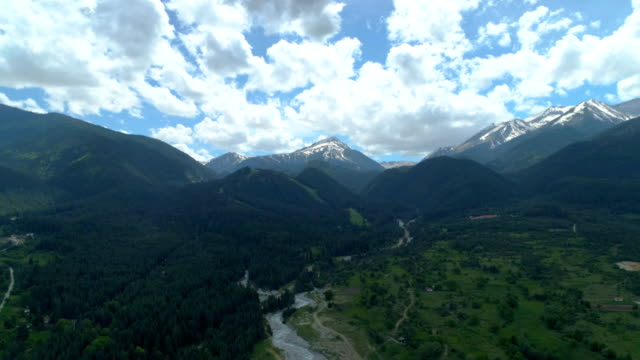 drone moving up looking at beautiful pirin mountain - bulgaria stock videos & royalty-free footage