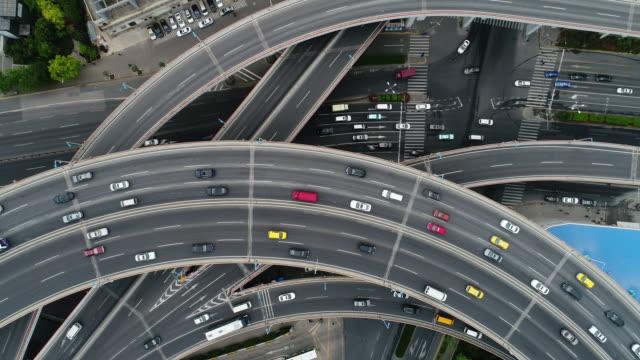 Drone moving up over Nanpu bridge in Shanghai