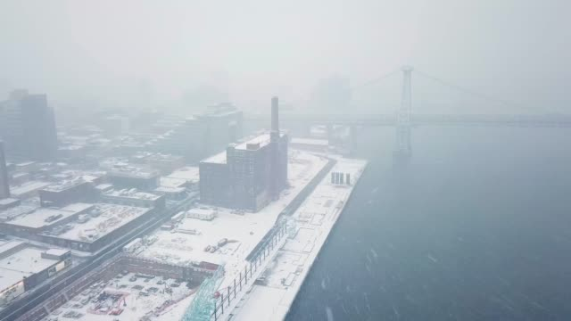 drone nyc snow storm - frozen water stock videos & royalty-free footage