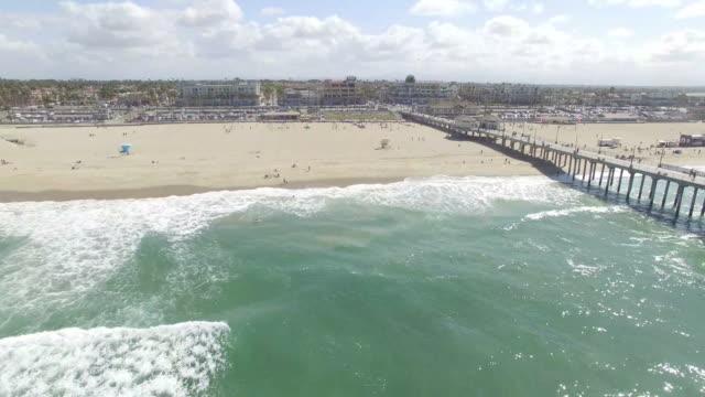 drone of huntington beach - huntington beach california stock videos and b-roll footage