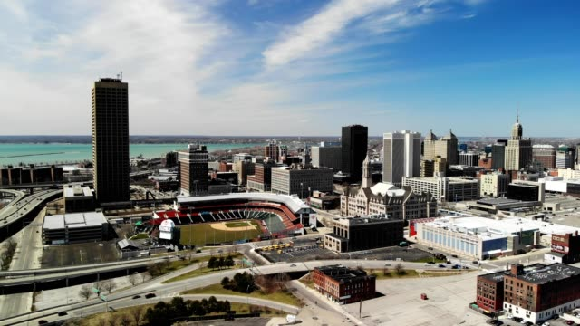 a drone orbits a portion of downtown buffalo new york - buffalo new york state stock videos & royalty-free footage