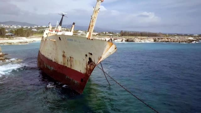 a drone orbits a wrecked ship in peyia paphos cyprus - eurasia stock videos and b-roll footage