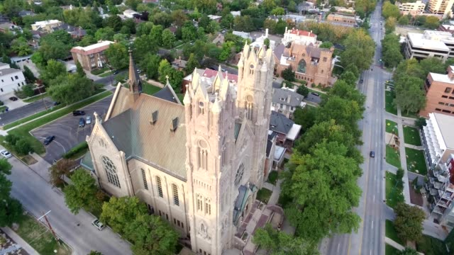A Drone orbits the Cathedral of the Madeleine in Salt Lake City Utah