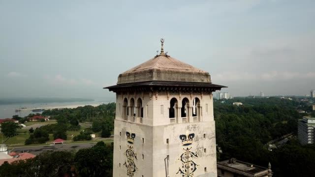 a drone orbits the top of the sultan ibrahim government building bukit timbalan in johor bahru malaysi - johor stock videos & royalty-free footage