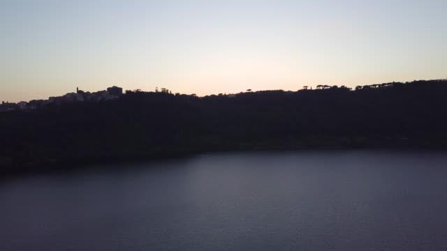 vidéos et rushes de drone over lago di nemi, near rome, italy, at sunset - moins de 10 secondes