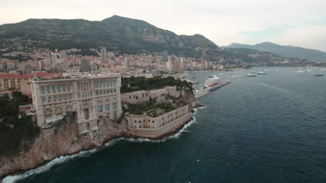 Drone, over Monaco city Harbor and bay.