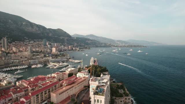 drone, over monaco city harbor and bay. - monaco stock videos and b-roll footage