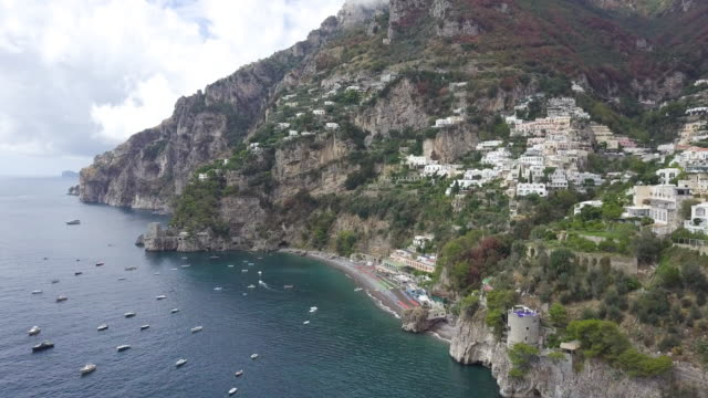 Drone over Positano, Amalfi Coast. Beautiful and typical city of south Italy