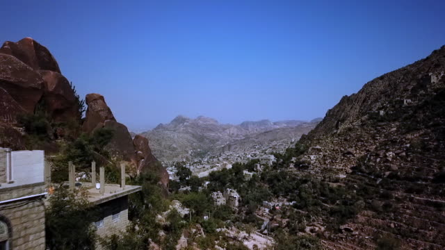 drone pov over taiz - middle east stock videos & royalty-free footage
