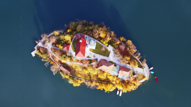 Drone overhead view of famous lake Bled in autumn, Slovenia