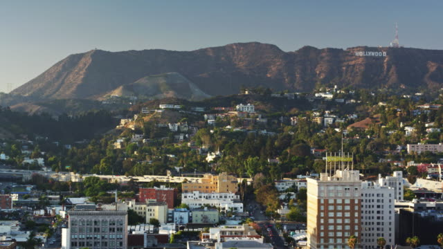 Drone Pan Over Hollywood, Los Angeles
