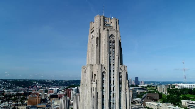 A drone pans down a University of Pittsburgh Cathedral Learning Tower in Pennsylvania