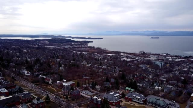 A drone pans from Lake Champlain to Burlington Vermont