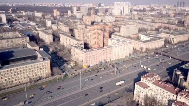 A drone pans over Leningradskiy Avenue in Moscow Russia
