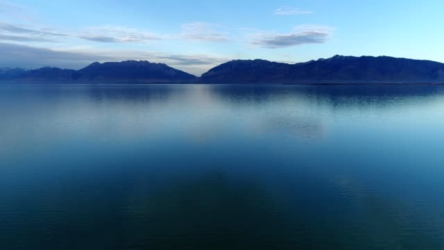a drone pans over utah lake in provo utah - provo stock videos and b-roll footage