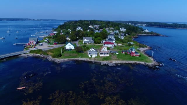 a drone partially orbits bailey island in harpswell maine - maine stock videos & royalty-free footage