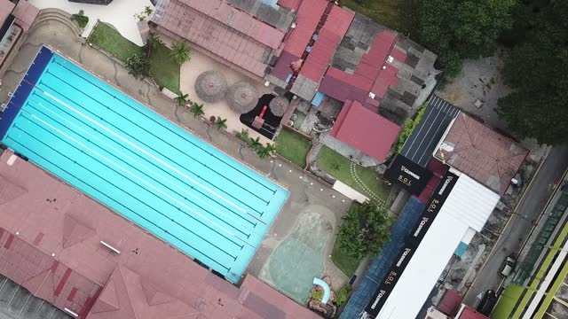 drone point of view directly above swimming pool with lanes - swimming pool stock videos & royalty-free footage